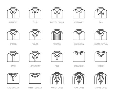 Shirt collars, jacket types flat line icons set. Formal clothing vector illustrations, classic white collar, tuxedo, polo. Outline pictogram for menswear store. Pixel perfect 64x64. Editable Strokes.