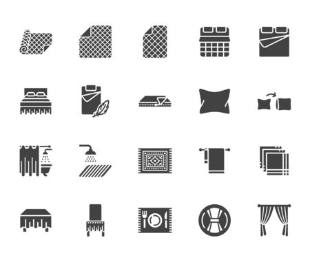 Linen flat glyph icons set. Bedroom textile blanket, bed mattress cover, pillow pillowcase, handkerchief, towel vector illustrations. Signs for interior store. Silhouette pictogram pixel perfect 64x64