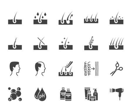 Flache Glyphen-Symbole zur Behandlung von Haarausfall gesetzt. Shampoo-ph, Schuppen, Haarwuchs, Keratin, Conditioner-Flaschen-Vektorillustrationen. Schwarze Schilder für Schönheitssalon. Silhouette Piktogramm Pixel perfekt 64x64.