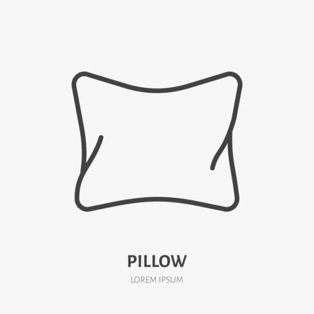 Pillow line icon, vector pictogram of bedding. Bed linen, interior illustration, home textile sign.