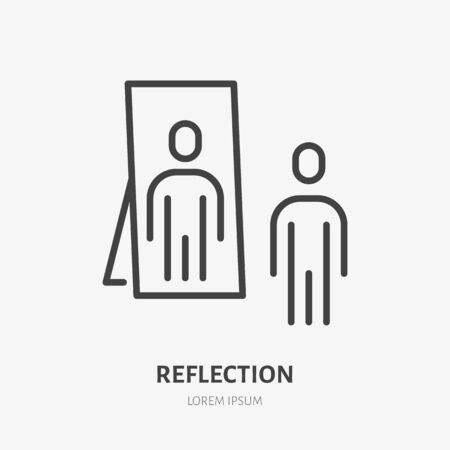 Person reflection in a mirror line icon, vector pictogram of confidence. Man looking at himself illustration, narcissism sign.
