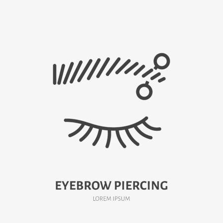 Eyebrow piercing line icon, vector pictogram of face jewelry. Piercing studio , linear illustration. Illusztráció