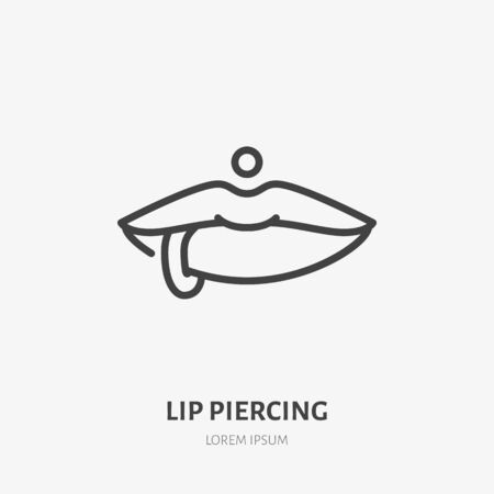 Lip piercing line icon, vector pictogram of face jewelry. Piercing studio , linear illustration.