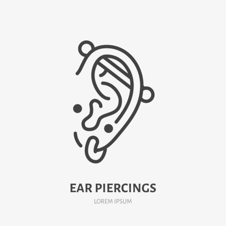 Ear piercing line icon, vector pictogram of face jewelry. Piercing studio , linear illustration.