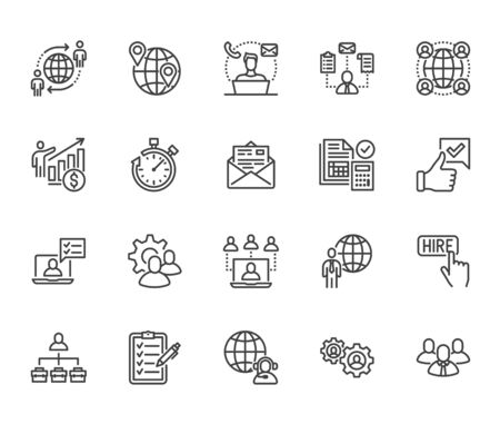Outsource flat line icons set. Recruitment, partnership, teamwork, freelancer, part and full-time job vector illustrations. Outline pictogram for business. Pixel perfect 64x64. Editable Strokes.