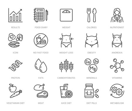 Nutritionist flat line icons set. Diet food, nutritions - protein, fat, carbohydrate, fit body vector illustrations. Outline pictogram for overweight treatment. Pixel perfect 64x64. Editable Strokes. Vector Illustration