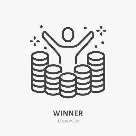 Lottery winner raises hands among gold coins line icon, vector pictogram of prize. Money winning illustration, casino reward sign.