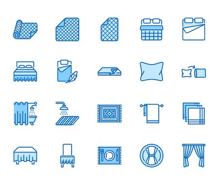 Linen flat line icons set. Bedroom textile blanket, bed mattress cover, pillow, pillowcase, handkerchief, towel vector illustrations. Outline signs interior store. Pixel perfect 64x64 Editable Stroke.