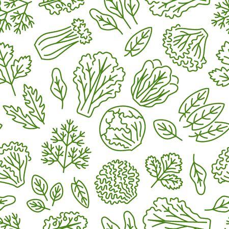 Fondo de alimentos, verduras de patrones sin fisuras. Alimentación saludable: lechuga, ensalada iceberg, perejil, eneldo, iconos de línea de hoja de espinaca. Vegetariano, ilustración de vector de tienda de abarrotes de granja, color blanco verde.