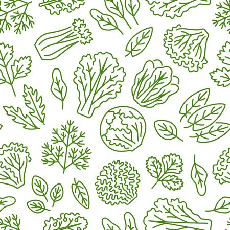 Food background, vegetables seamless pattern. Healthy eating - lettuce, iceberg salad, parsley, dill, spinach leaf line icons. Vegetarian, farm grocery store vector illustration, green white color.