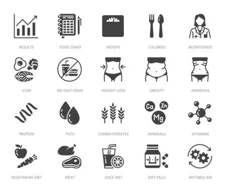 Ernährungsberater flache Glyphensymbole gesetzt. Diätkost, Ernährung - Protein, Fett, Kohlenhydrate, passende Körpervektorillustrationen. Schwarze Zeichen für die Behandlung von Übergewicht. Silhouette Piktogramm Pixel perfekt 64x64. Vektorgrafik