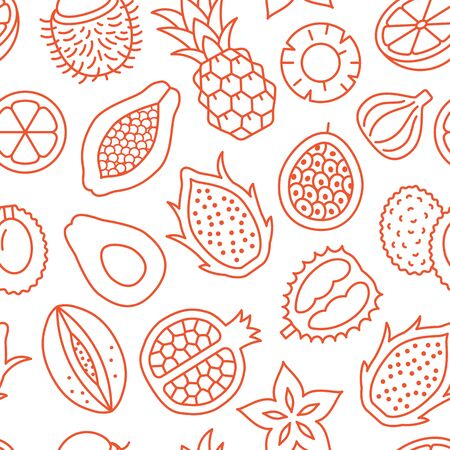 Exotic fruits background, abstract food seamless pattern. Tropical fruit wallpaper with papaya, pineapple, fig, pomegranate pitahaya line icons. Vegetarian grocery vector illustration red white color. Фото со стока - 137238036