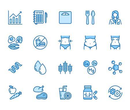Ensemble d'icônes de ligne plate de nutritionniste. Aliments diététiques, nutritions - protéines, lipides, glucides, illustrations vectorielles du corps en forme. Pictogramme de contour pour le traitement du surpoids. Pixel parfait 64x64. Coups modifiables.