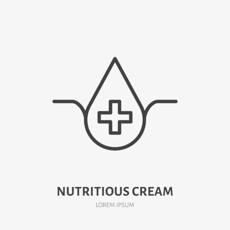 Moisture line icon, vector pictogram of nutritious, moisturizing cream. Skincare illustration, sign for cosmetics packaging. 向量圖像