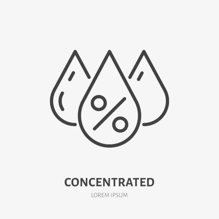 Icône de ligne acide concentré, pictogramme vectoriel de crème hydratante. Illustration de soins de la peau, signe pour l'emballage de cosmétiques. Vecteurs