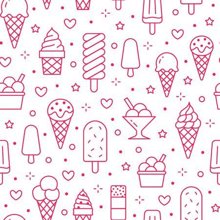 Eiscremehintergrund, nahtloses Muster der süßen Nahrung. Vanilleeis, Frozen Yogurt, Lolly Line Icons. Sommer Dessert bunte Vektor-Illustration rosa weiße Farbe.