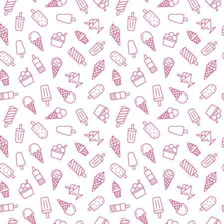 Eiscremehintergrund, nahtloses Muster der süßen Nahrung. Vanilleeis, Frozen Yogurt, Lolly Line Icons. Sommer Dessert bunte Vektor-Illustration rosa weiße Farbe. Vektorgrafik