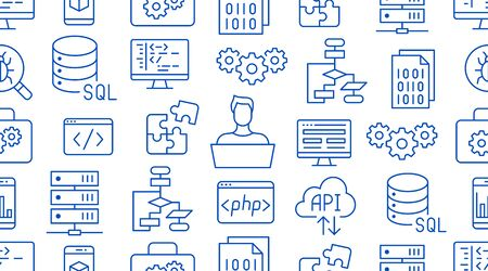 Software development seamless pattern with flat line icons. Programming language background, application, api, computer program develop vector illustration. Outline wallpaper for website design.