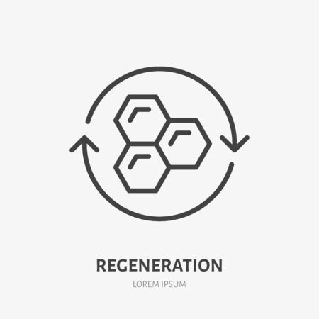 Cell regeneration line icon, vector pictogram of collagen repair. Skincare illustration, sign for ceam, cosmetics packaging.