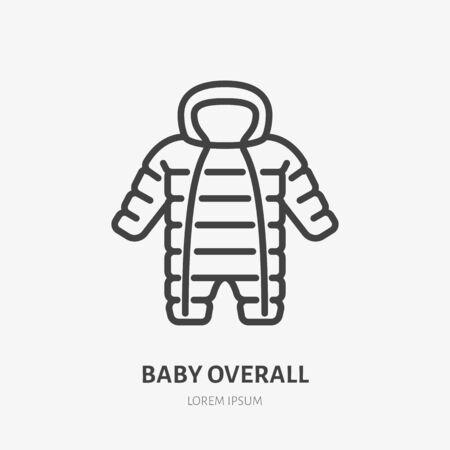 Baby-Overalls flache Liniensymbol. Overall-Vektor-Illustration für kaltes Wetter. Umrisszeichen von Kindermode, Bekleidungsgeschäft.
