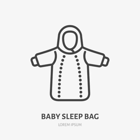 Baby sleep bag flat line icon. Cold weather newborn apparel vector illustration. Outline sign of kids fashion, clothing store.