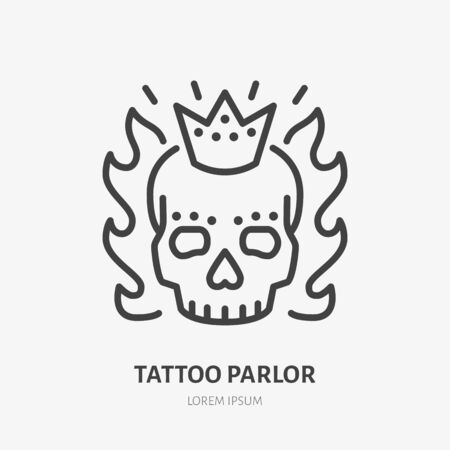 Scary skull with crown and flames flat line icon. Tattooist logo, vector illustration. Outline sign for tattoo parlor. Illustration