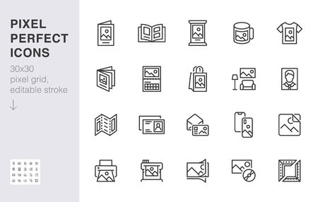 Photo printing line icon set. Brand identity printed on products like brochure, banner, mug, plotter vector illustrations. Simple outline signs for polygraphy. 30x30 Pixel Perfect. Editable Strokes. 일러스트