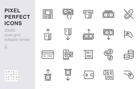 Atm machine line icon set. Withdraw money, deposit, hand taking cash, receipt minimal vector illustration. Simple outline signs for payment terminal application. 30x30 Pixel Perfect. Editable Strokes. Ilustração