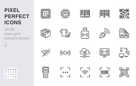 RFID, qr code, barcode line icon set. Price tag scanner, label reader, identification microchip vector illustration. Simple outline signs retail safety application. 30x30 Pixel Perfect Editable Stroke