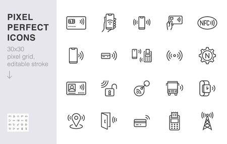 NFC line icon set. Ilustrace