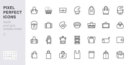 Bags line icon set. Purse types - tote, briefcase, fanny pack, shopper, luggage, plastic bag minimal vector illustrations. Simple outline signs for fashion app. 30x30 Pixel Perfect. Editable Strokes. 向量圖像