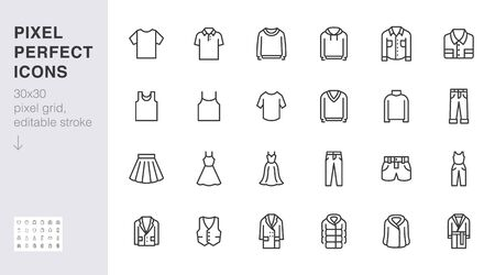 Clothing line icon set. Dress, polo t-shirt, jeans, winter coat, jacket pants, skirt minimal vector illustrations. Simple outline signs for fashion application. 30x30 Pixel Perfect. Editable Strokes.