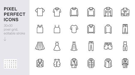 Jeu d'icônes de ligne de vêtements. Robe, t-shirt polo, jeans, manteau d'hiver, pantalon de veste, jupe illustrations vectorielles minimales. Signes de contour simples pour l'application de la mode. 30x30pixels parfait. Coups modifiables. Vecteurs