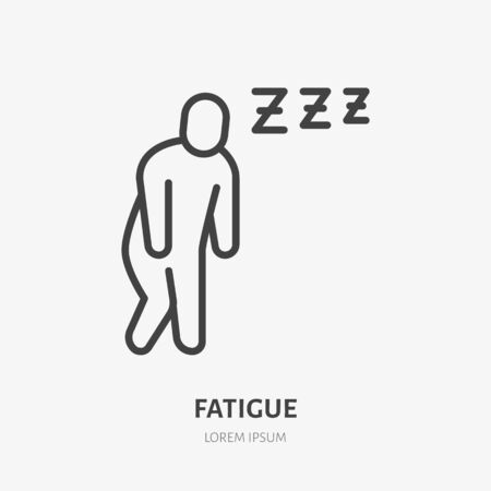Fatigue man line icon, vector pictogram of flu or cold symptom. Tired person, illustration, exhausted, burnout sign for medical poster. Stock Illustratie
