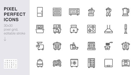 Kitchen appliance line icon set.