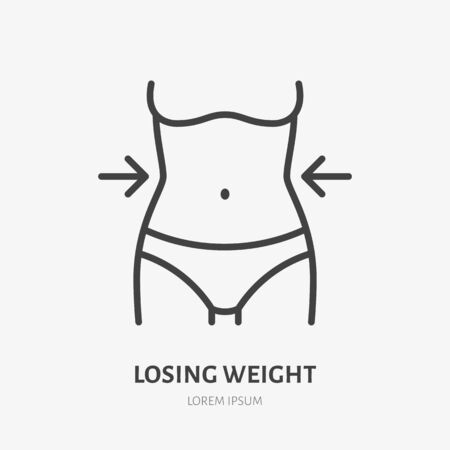 Weight loss line icon, vector pictogram of woman with slim body. Girl after diet illustration, healthy lifestyle sign for medical poster.