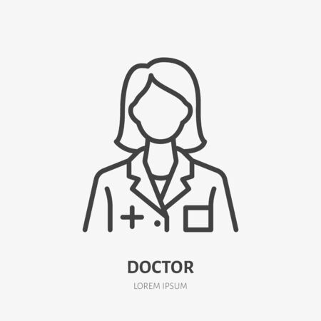 Doctor line icon, vector pictogram of woman physician with stethoscope. Lady hospital worker illustration, nurse sign for medical poster.