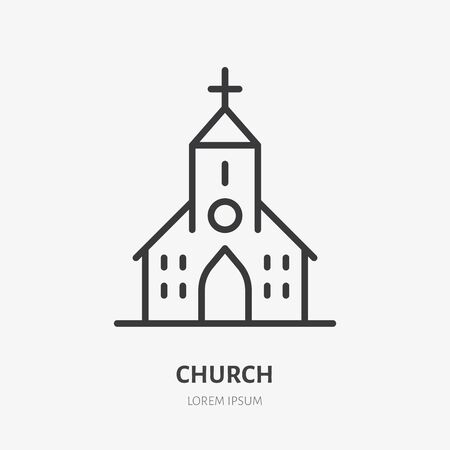 Church line icon, vector pictogram of catholic chapel building. Religious house illustration, sign for christian logo.