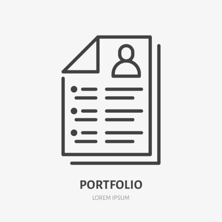 Resume line icon, vector pictogram of portfolio. Job interview form illustration, sign for hr business.