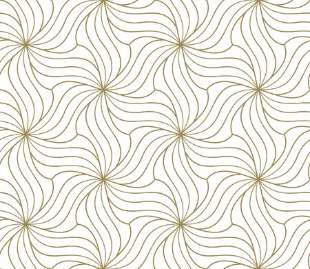 Seamless floral pattern with abstract geometric flower line texture, gold on white background. Light modern simple wallpaper, bright tile backdrop, decorative graphic element. Векторная Иллюстрация