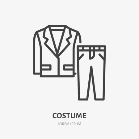 Suit line icon, vector pictogram of man jacket with pants. Clothes illustration, sign for fashion store.
