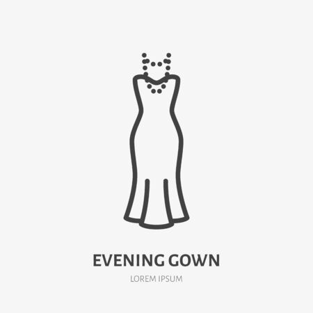 Evening gown line icon, vector pictogram of woman dress with pearl necklace. Clothes illustration, sign for fashion store.