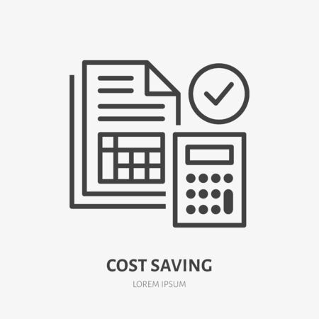 Cost saving line icon, vector pictogram of price list. Tax optimization illustration, sign for financial business.