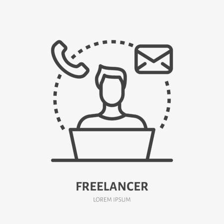Freelance line icon, vector pictogram of remote work. Teleworking illustration, sign for online job.