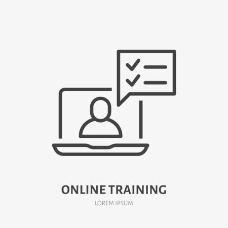 Online training line icon, vector pictogram of laptop with teacher. Webinar illustration, sign for video education.