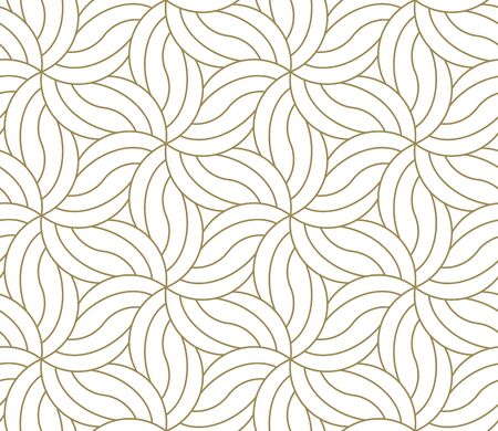 Seamless floral pattern with abstract geometric flower line texture, gold on white background. Light modern simple wallpaper, bright tile backdrop, decorative graphic element. Illustration