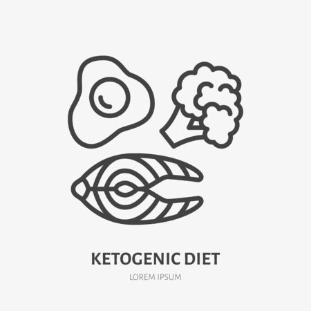 Keto diet line icon, vector pictogram of ketogenic food - egg, salmon, broccoli. Healthy eating illustration, sign for sport nutrition.