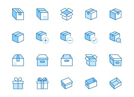 Box line icon set. Carton, cardboard boxes, product package, gift, parcel minimal vector illustrations. Simple blue outline signs for delivery service application. Editable Strokes.