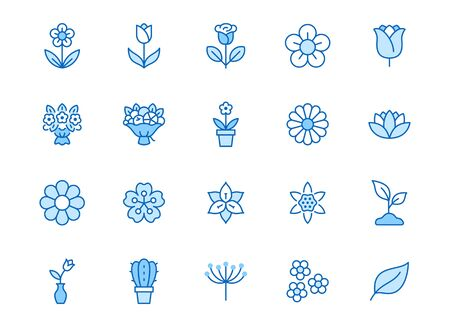 Flower line icon set. Rose, tulip in vase, fruit bouquet, spring blossom, cactus minimal vector illustration Simple blue outline signs for flowers delivery application. Editable Strokes. Illustration
