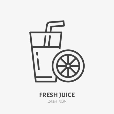 Fresh juice line icon, vector pictogram of glass with straw and orange. Healthy drink illustration, sign for smoothie bar.